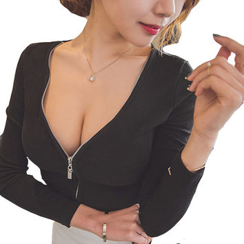 Sexy V Neck Front Zipper Long Sleeve Crop Top Tee Hot Casual Slim Fit Solid Basic Shirt