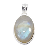 925 Sterling Silver Necklace - Handmade Rainbow Moonstone Pendant Necklace