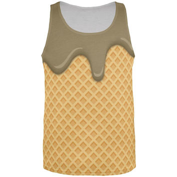 Melting Chocolate Ice Cream Cone All Over Mens Tank Top