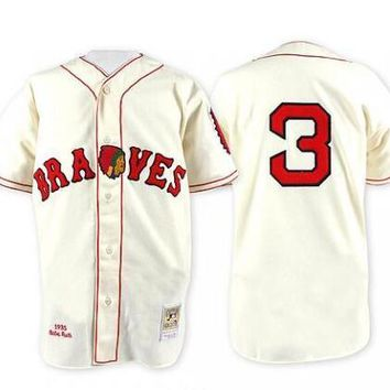 Throwback Atlanta Braves #3 Babe Ruth Retro Cream 1935 1974 White with Blue Sleeves Vintage Baseball Jerseys by M&N