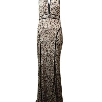 Xscape Women's Sequined Animal Print Lace Halter Gown