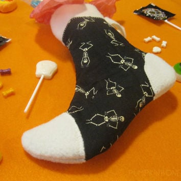 Witch's Sock - Halloween Candy and Treat Stocking - Dancing Skeletons - Black and White Holiday Stocking