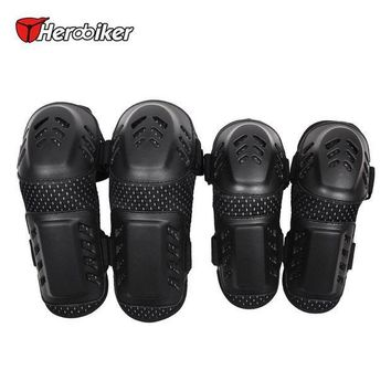 CREY3F HEROBIKER Motorcycle MTB BMX DH Bike Skating Skateboard Elbow Pads + Knee Pads Set Guard Extreme Sport Protective Gear Protector