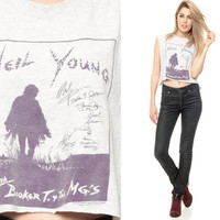 NEIL YOUNG Shirt 90s Grey Tank Top Grunge 1990s Rock Band Concert Tee Hippie Folk Vintage Cotton Muscle Extra Small Medium XS