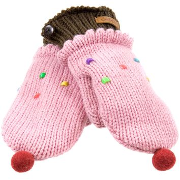 Strawberry Cupcake Knit Mittens
