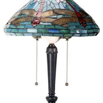 Tiffany Dragonfly Stained Glass Lamp Replica 20H