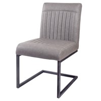 Ronan Industrial Vintage PU Leather Dining Chair, Antique Graphite Gray (Set of 2)