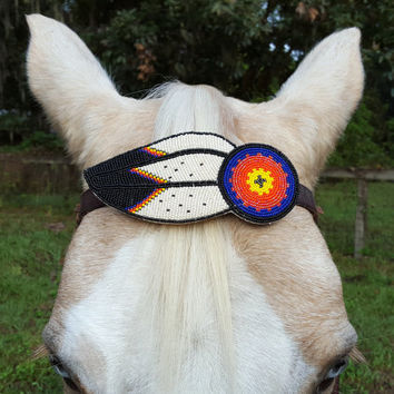 Feather and Sunburst Seed Beaded Equine Browband Ornament  -  Native American Style Horse Brow Band Ornament - American Indian Style Tack