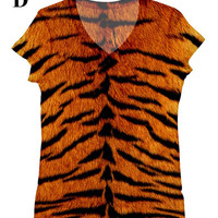 woman Tiger print tank top t shirt XS - Plus size