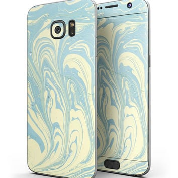 Marbleized Swirling Mint and Yellow - Full Body Skin-Kit for the Samsung Galaxy S7 or S7 Edge