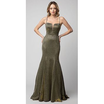 Metallic Olive Long Prom Dress Lace-Up Back