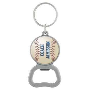 Personalized Coach Baseball Bottle Opener Keychain