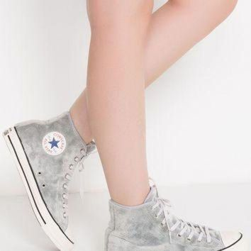 DCCK1IN converse soft faux furry fabric lining high top lace up sneaker in wolf grey