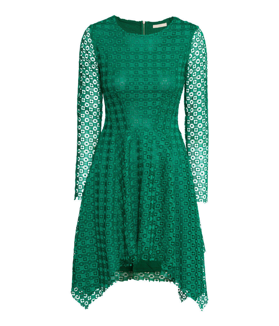 H&M - Long-sleeved Lace Dress - Green - from H&M
