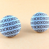 Love Earrings Fabric Buttons