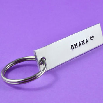 OHANA - Hand Stamped Aluminum Keychain, Personalized Family Love Gift