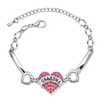 Grandmother's Day Gift Gandma Letters Bracelets For Women Silver Crystal Rhinestone Heart Charm Bracelet For Family Gift