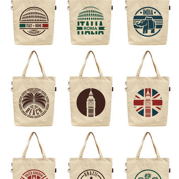 Women Travel Stickers Set Printed Canvas Tote Shoulder Bag WAS_40