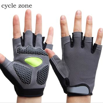 Cycle zone 1Pair Gray/Black Men Semi fingerless Gloves Cycling Gloves for Bike Bicycle With Gel Padded Lycra Workout Mittens