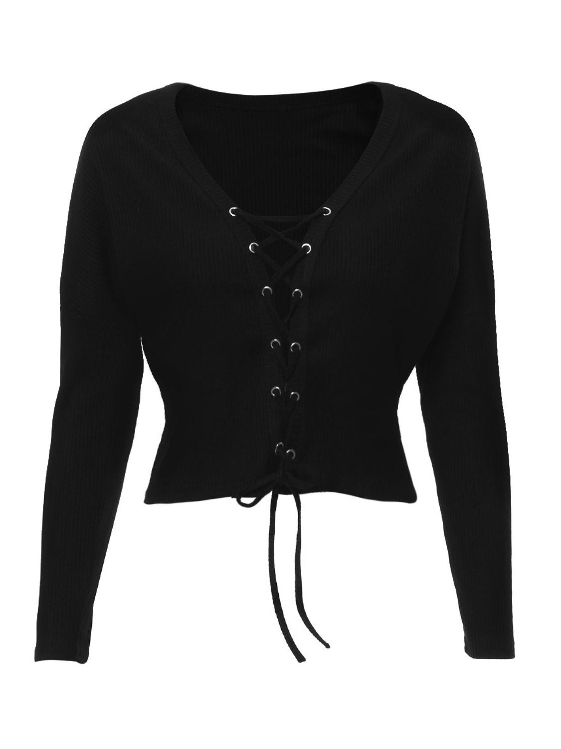 3472342d5a66 Black Plunge Neck Lace Up Front Knit from Midnight Bandit