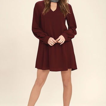 So Into You Wine Red Beaded Long Sleeve Shift Dress