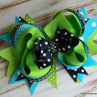Girls hair bows Navy blue, Turquoise and Green polka dot hair bows for girls, toddler, baby, Big hair bow, Stacked hair bows