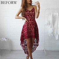 BEFORW Boho Dress Fashion Summer Women Sexy Dresses Casual Mini Clothing White Backless Lace Embroidery Beach Long Dress Vestido