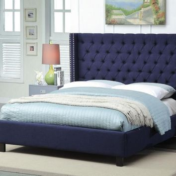 Ashton Navy Linen Twin Bed