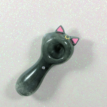 Celestial Kitty Ears and Tail Pink Glass Pipe, Moon Glass Spoon Pipe, Moon Glass Spoon Pipe, Custom Glass Pipe, Smoking Pipe