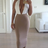 Beige Plunged V-Neck Bodycon Midi Dress