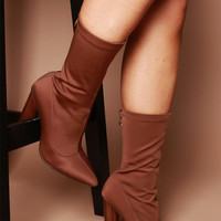 Marianne Ankle Boots in Rust Lycra | Women's Heels, Boots & Shoes