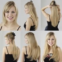 "Amazon.com: Clip in on Hair Extensions 18"" Lord and Cliff Human Hair, Color 1b Off Black: Beauty"