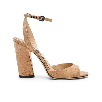 Jimmy Choo Miranda 100mm Cork Sandal in Nude | FWRD