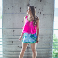Abstract Mosaic Shorts in Blue