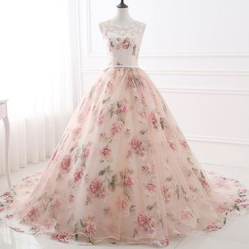 In Stock Cheap Appliques Prom Dresses 2017 Print Flowers Prom Ball Gowns Long Floor Length Prom Dress