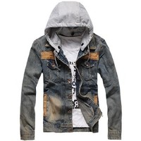 Fancy Dress Store Mens Washed Denim Motorcycle Jacket