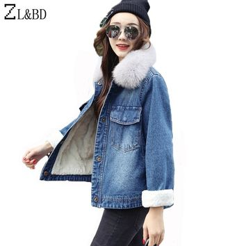 ZL&BD chaqueta mujer Women Winter Denim Jacket and Coat 2018 Real Fox Fur Thick Lambswool Jacket Outerwear Coat Parka ZA1001