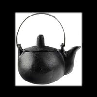 Plain Cast Iron Tea Kettle with Handle and Lid