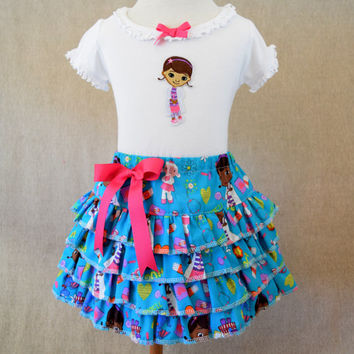 Doc McStuffins outfit , toddler ruffle skirt , summer outfit , ruffle skirt outfit , toddler outfit , ready to ship , size 2T
