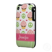 Peace Love Cupcakes iPhone 3 Case from Zazzle.com