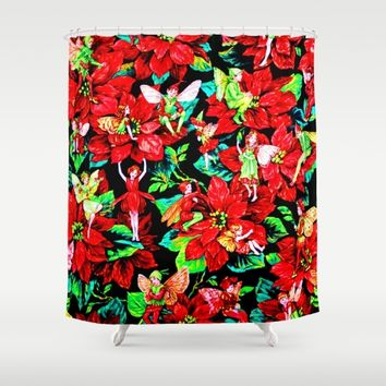 Fairy Flower | Christmas Spirit Shower Curtain by Azima