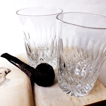 Pair Antique Cut Crystal  Whisky Glasses, 2 English Whiskey Medium Tumblers, Scotch Glass, Barware, Man Cave Gift, Home Bar Glassware
