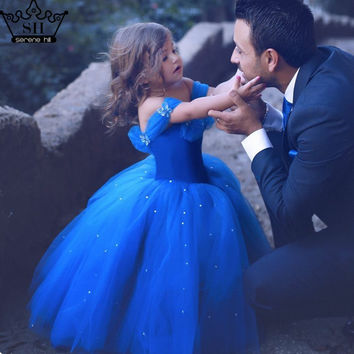 Baby Sequined Tulle Flower Girl Dresses Blue Sleeveless Girls Pageant Dresses Kids Evening Gowns 2017 Serene Hill