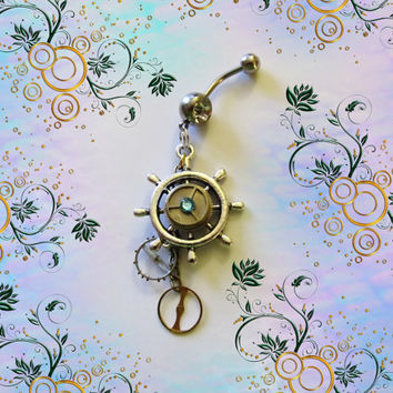 "Belly Ring, Nautical Stern Ship Wheel, SteamPunk, "" Empty Time"" Watch Parts, With Dangling Wheels, Belly Button Jewelry"