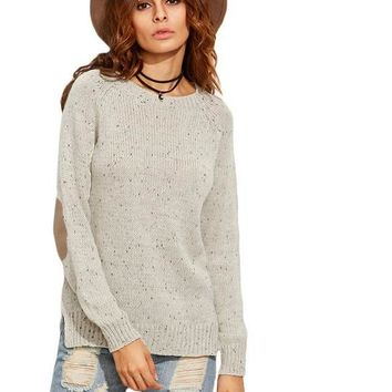 SheIn Women Sweaters and Knitwear Elbow Patch Sweaters for Woman Side Slit Knitwear Fleck Knitted Apricot Sweater