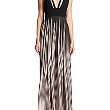 NICHOLAS - Cutout Ponte & Striped Pleated Chiffon Gown - Saks Fifth Avenue Mobile