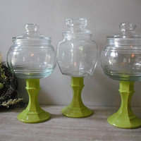 3 upcycled Wedding candy jars  terrarium Lime by MamaLisasCottage