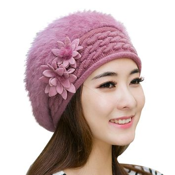 Women Winter Fashion Flower Pattern Hat Ski Beanie Ball Knitted Cap Charming