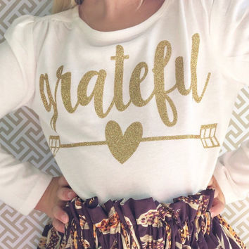 girls sweet sprouts grateful heart thanksgiving gold glitter shirt