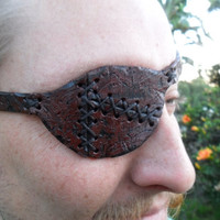 Custom Handmade Distressed Leather Eye Patch, Patchwork Pirate Eyepatch   --RIGHT--